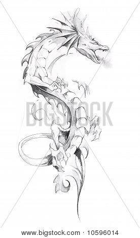 Bosquejo del arte del tatuaje, Dragón