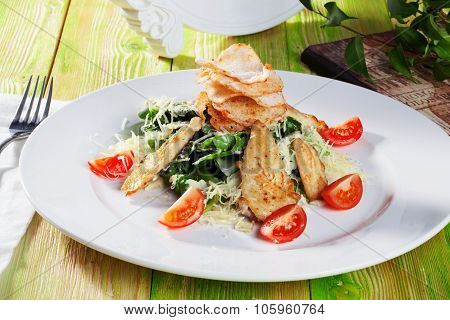 Caesar salad in a still life with chicken and croutons close-up for the menu