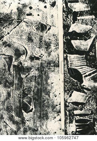 Black and white monoprint