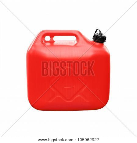 Red Plastic Jerrycan Isolated On White
