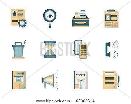 Headhunting flat color vector icons set