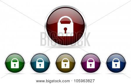 padlock colorful glossy circle web icons set