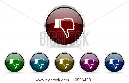 dislike colorful glossy circle web icons set