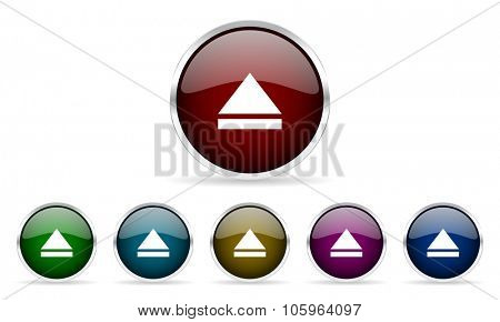 eject colorful glossy circle web icons set