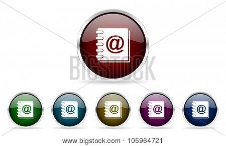 address book colorful glossy circle web icons set