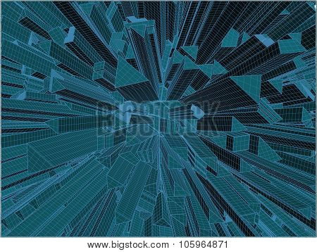 Abstract Urban City Of Skyscrapers Vector
