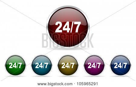 24/7 colorful glossy circle web icons set