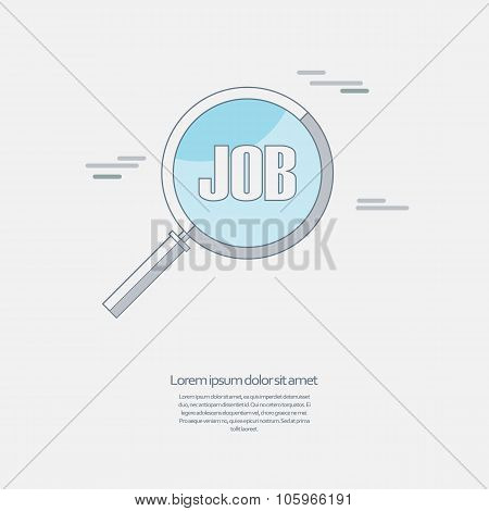 Search for job symbol with magnifying glass in modern flat design. Hiring line icon, recruitment bus
