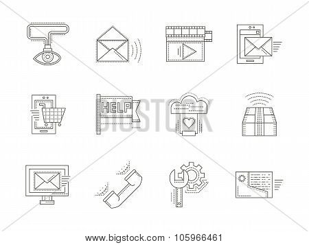 Thin line vector icons for technical support