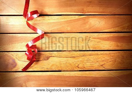 Ribbon Festive Decoration On Wooden Table Top