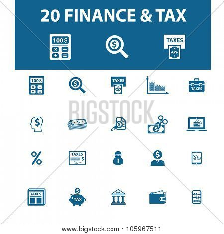 finance, tax icons