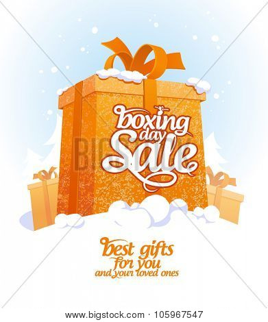 Boxing day sale design with gift box in snow.