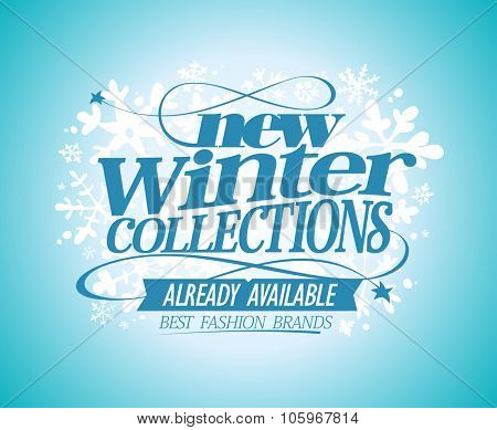 Fashion vector poster New winter collections already available, best fashion brands.