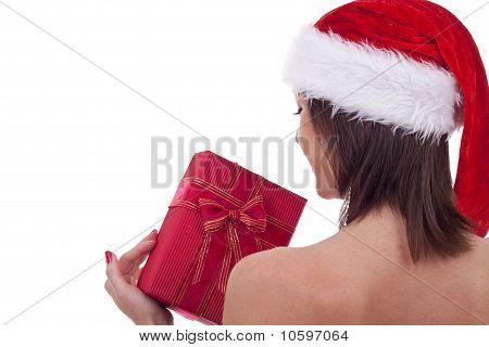 Santa Woman Holding A Present