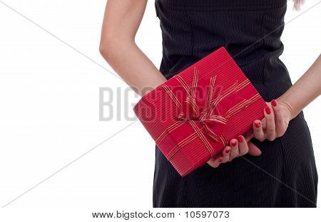 Woman Holding A Present On Her Back