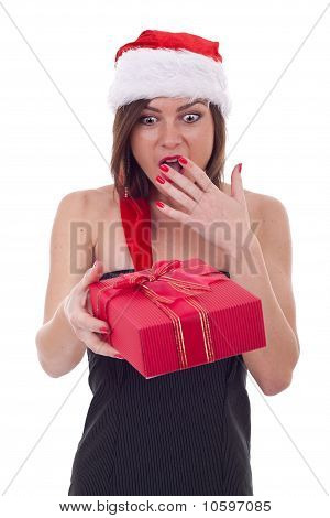 Surprised Woman With Santa Hat