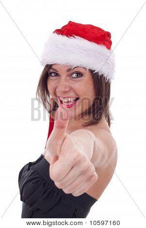 Santa Woman Making Ok