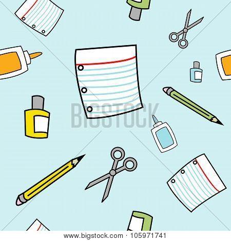 Simple Cartoon School Supplies Seamless Pattern
