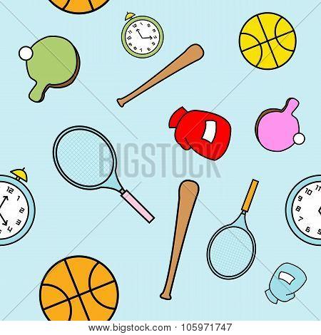 Simple Cartoon Sports Themed Seamless Pattern