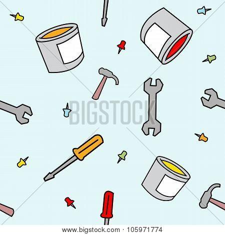 Simple Cartoon Work Supplies Seamless Pattern
