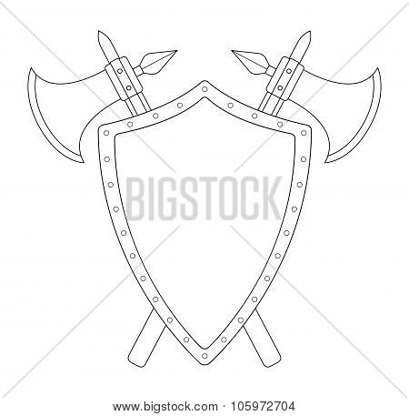 Two crossed axes and steel shield emblem. Contour