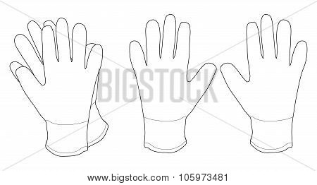 Pair of white working gloves. Contour