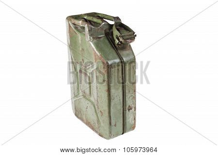 The old jerrycan isolated on white background