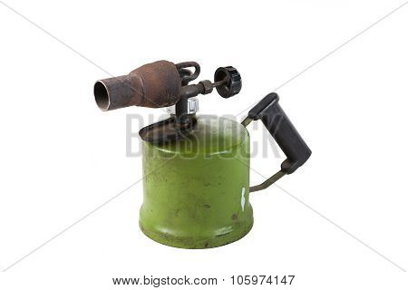 The Old blowtorch isolated on white background