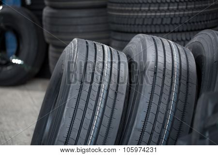 The image of car wheels at the warehouse