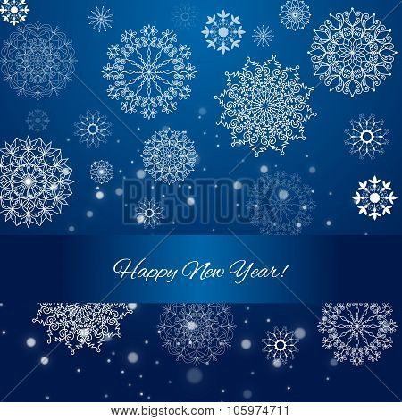 2016 - Happy New Year. Blue Celebration Background With Hand Drawn Snowflakes.