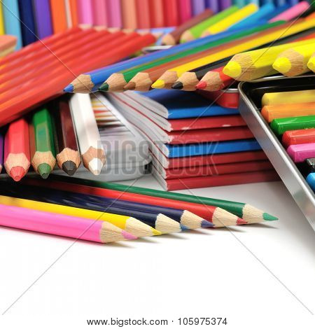 collection colored pencils isolated on white background