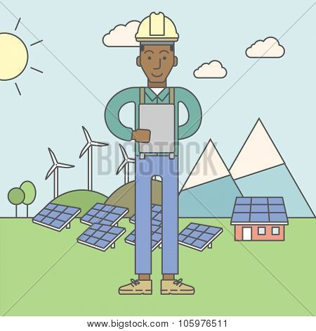 An african-american man in helmet with a tablet in hands on a background with solar panels and wind turbines. Vector line design illustration. Square layout.