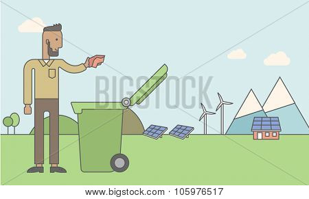 An african-american hipster man with beard puts a trash into a green bin. Vector line design illustration. Horizontal layout with a text space for a social media post.