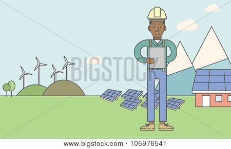 An african-american man in helmet with a tablet in hands on a background with solar pannels and wind turbins. Vector line design illustration. Horizontal layout with a text space for a social media