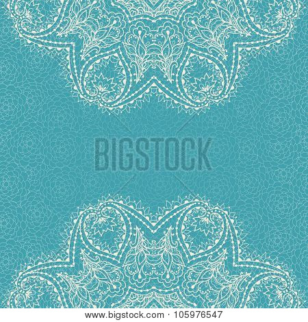 Stock Vector Elegant Card With A Circular Ethnic Ornament In Vintage Style On The Lace Seamless Patt