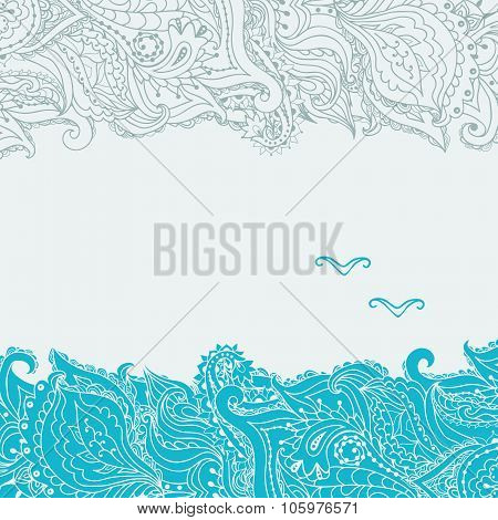 Stock Vector Background On The Marine Theme With An Abstract Image Of The Sea And Seagulls