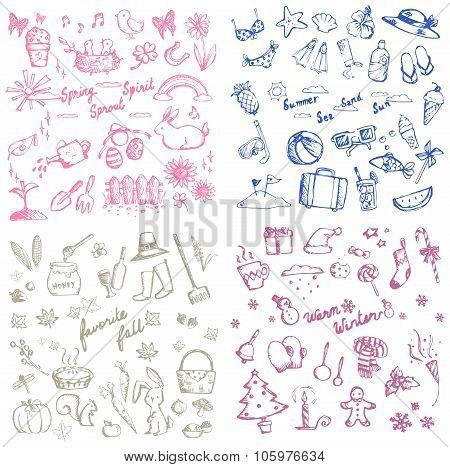 Spring Summer Autumn And Winter Holiday Season Doodle Icon Of Animal, Plant And Flower, Leisure Acti