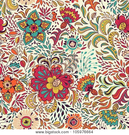 Vector Seamless Pattern In Colored Abstract Flowers And Berries On A Light Background