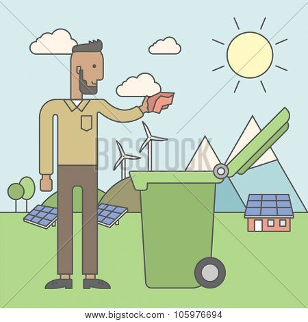 An african-american hipster man with beard puts a trash into a green bin. Vector line design illustration. Square layout.