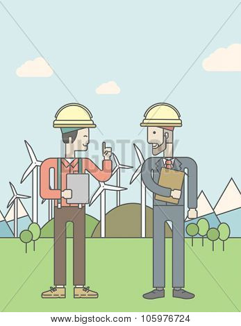 Two men in helmet with a tablet in hands on a background with solar panels and wind turbines. Vector line design illustration. Vertical poster layout with a text space.