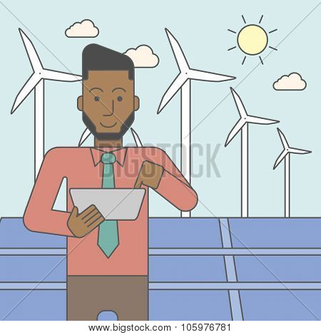 An african-american man with a tablet in hands on a background with big solar panel and wind turbines. Vector line design illustration. Square layout.