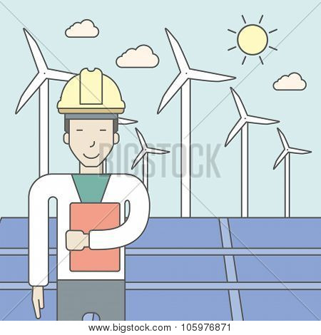 An asian man in helmet with a document in hands on a background with big solar panel and wind turbines. Vector line design illustration. Square layout.