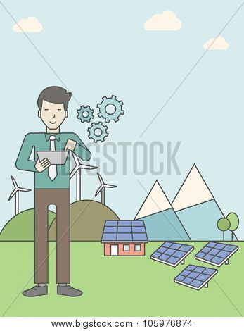 An asian man with a tablet in hands on a background with solar panels and wind turbines. Vector line design illustration. Vertical layout with a text space for a social media post.