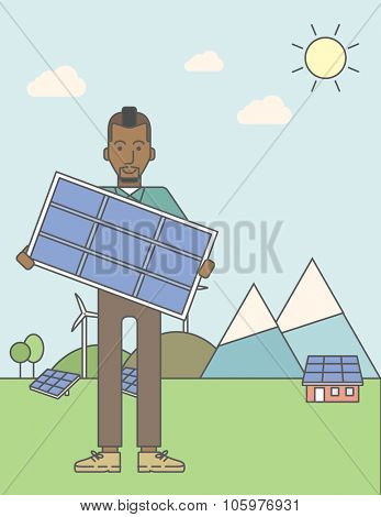 An african-american man with a solar panel in hands on a background with solar panels and wind turbines. Vector line design illustration. Vertical layout with a text space for a social media post.