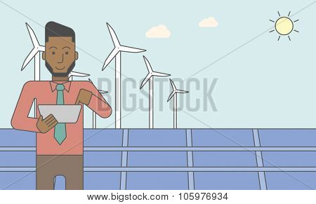 An african-american man with a tablet in hands on a background with big solar panel and wind turbines. Vector line design illustration. Horizontal layout with a text space for a social media post.