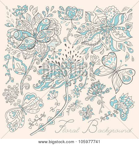 Stock Vector Card With Flowers And Butterflies.