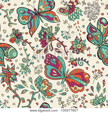 Vector seamless pattern with abstract flowers and butterflies