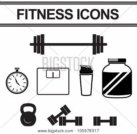 Silhouette Fitness And Exercise Tool Such As Dumbbell, Stop Watch, Weight Collection Icon Set, Creat