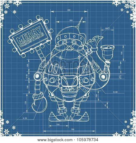 Engineering drawing robot santa on blue paper