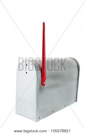 Metal mail box isolated over white background